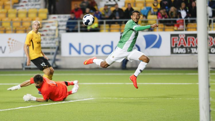 Rio Ave's Mahgoub gets the ball past Elfsborg's Stuhr-Ellegaard during their Europa League playoff soccer match in Boras