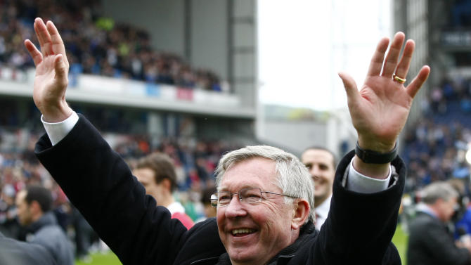 FILE - This is a Saturday May 14, 2011 file photo of  Manchester United manager Alex Ferguson as he celebrates after Manchester United won the English Premier League at Ewood Park, Blackburn, England . Alex Ferguson is retiring at the end of the season it was announced Wednesday May 8, 2013, bringing a close to a trophy-filled career of more than 26 years at Manchester United that established him as the most successful coach in British football history. (AP Photo/Tim Hales, File)