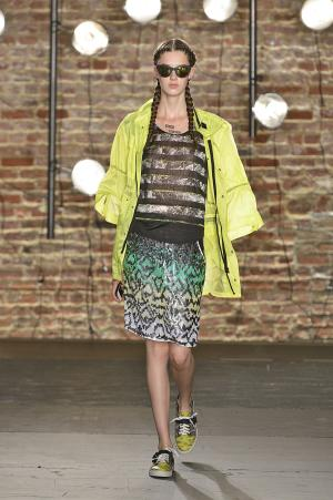 In this Saturday, Sept. 7, 2013, photo, provided by Kenneth Cole, fashion from the Kenneth Cole Spring 2014 collection is modeled during Fashion Week in New York. (AP Photo/Kenneth Cole, Greg Kessler)