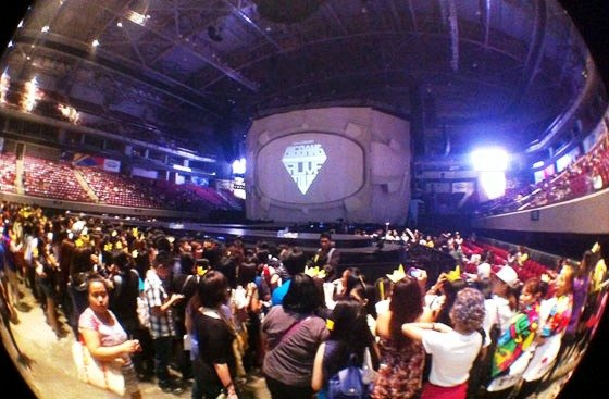 Filipino fans of BigBang, called the VIPs, wait for their idols to walk the stage during the Manila stop of their 2012 Galaxy Tour on Oct. 24, 2012 at the Mall of Asia Arena, Manila, Philippines. (Pho