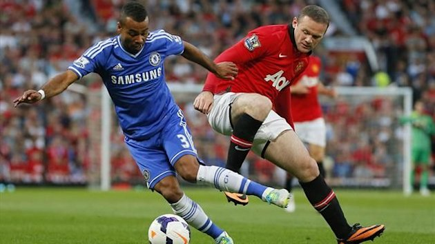 Manchester United's Wayne Rooney (R) challenges Chelsea's Ashley Cole during their English Premier League soccer match at Old Trafford, northern England August 26, 2013. REUTERS