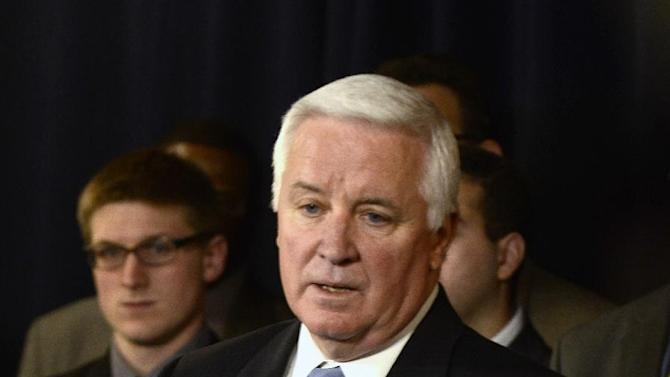 Pennsylvania Gov. Tom Corbett speaks at a news conference Wednesday, Jan. 2, 2013 in State College, Pa. The NCAA overstepped its authority by imposing hefty sanctions on Penn State University in the wake of the Jerry Sandusky child molestation scandal, Corbett said in announcing a federal lawsuit against the college athletics governing body. (AP Photo/Ralph Wilson)