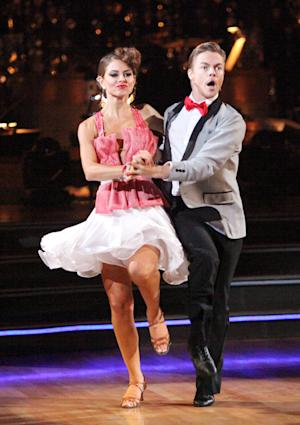 "This Monday, May 14, 2012 photo shows TV personality Maria Menounos, left, and her partner Derek Hough performing on the celebrity dance competition series ""Dancing with the Stars,"" in Los Angeles. (AP Photo/ABC, Adam Taylor)"
