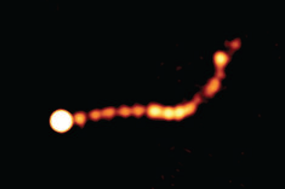 Galaxy's Giant Black Hole Jet a Cosmic Afterburner