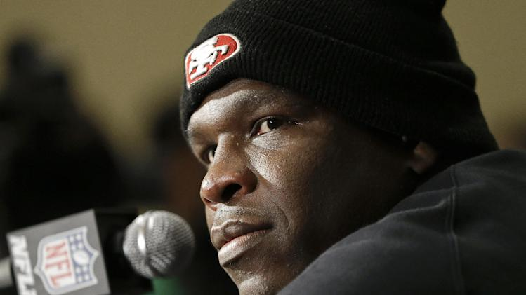 San Francisco 49ers running back Frank Gore listens to a question during a news conference on Monday, Jan. 28, 2013, in New Orleans. The 49ers are scheduled to play the Baltimore Ravens in the NFL Super Bowl XLVII football game on Feb. 3. (AP Photo/Mark Humphrey)