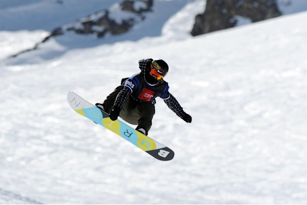 Canadian Spencer O'Brien competes during  the Women's Snowboard Slopestyle final during the European Winter X-Games, on March 16, 2012 in the ski resort of Tignes, French Alps.   AFP PHOTO / JEAN-PIER