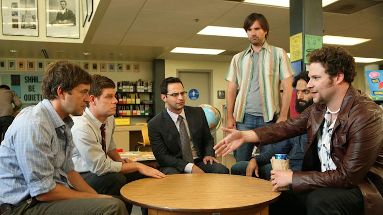 "Mark Duplass, Stephen Rannazzisi, Nick Kroll, Jon Lajoie, Jason Mantzoukas and Seth Rogen in ""The League."""