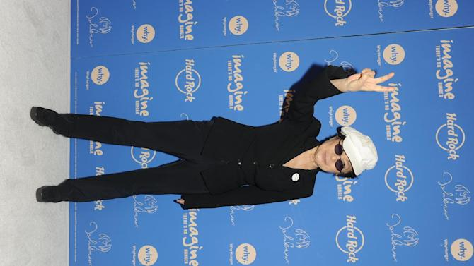 Yoko Ono Lennon appears at Hard Rock Cafe New York, Monday, Nov. 19, 2012, to launch Hard Rock's fifth annual IMAGINE THERE'S NO HUNGER campaign.  Proceeds from the campaign benefit WhyHunger and its grassroots partners combating childhood hunger and poverty worldwide.    (Diane Bondareff/Invision for Hard Rock International/AP Images)
