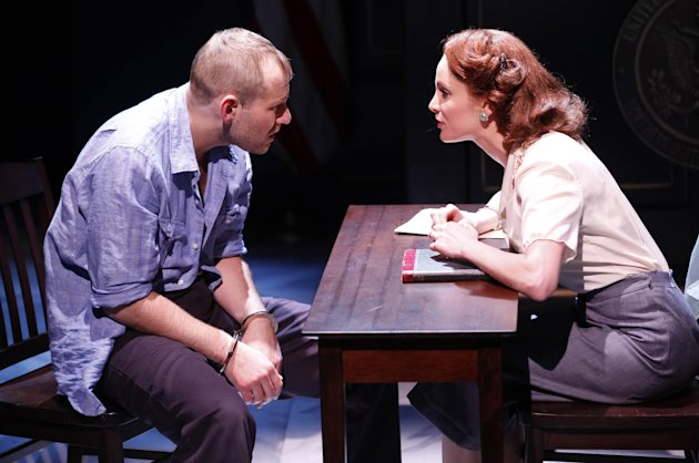 "This theater publicity image released by Karen Greco Public Relations shows Chad Kimball, left, and Larisa Polonsky during a performance of ""Murder in the First,"" in New York. (AP Photo/Karen Greco Public Relations, Carol Rosegg)"