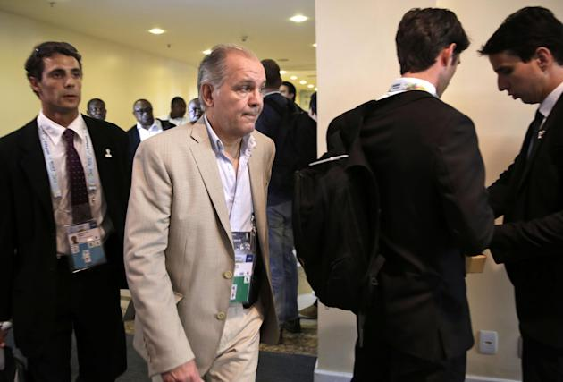 Argentina head coach Alejandro Sabella arrives for a seminar one day before the draw for the 2014 soccer World Cup in Costa do Sauipe near Salvador, Brazil, Thursday, Dec. 5, 2013