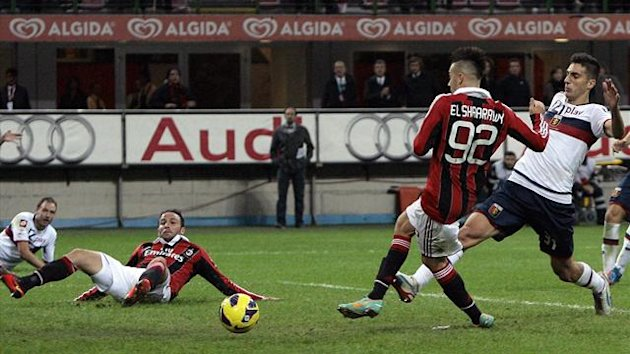 Stephan El Shaarawy scores the winner against Genoa at the San Siro