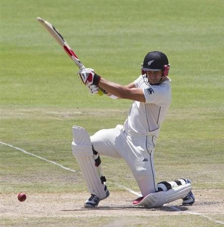 New Zealand's Wagner plays a shot on day four of the second cricket test match against South Africa in Port Elizabeth