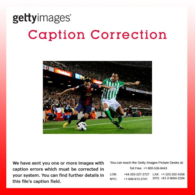 CAPTION CORRECTION - FC Barcelona v Real Betis Balompie - La Liga