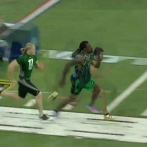 Clemson defensive end Vic Beasley's 40-yard dash against Houston Texans linebacker Jadeveon Clowney and Green Bay Packers linebacker Clay Matthews