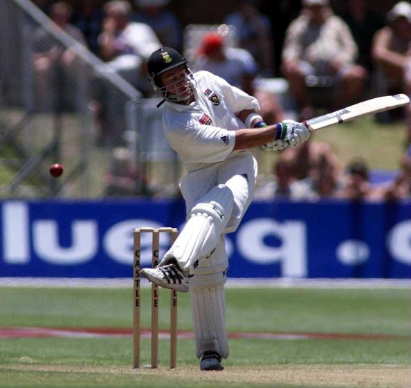 10 Dec 1999:  Mark Boucher of South Africa mis-times a shot during the 2nd Test match at St George's cricket ground Port Elizabeth in South Africa. Mandatory Credit: Laurence Griffiths/ALLSPORT