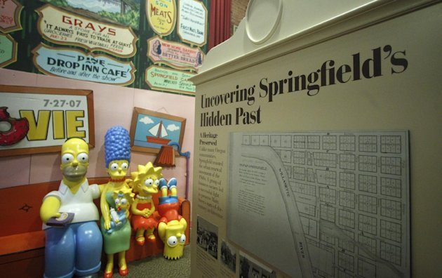 The Simpsons Couch is on display at the Springfield Museum Tuesday, April 10, 2012, in Springfield, Ore. One of the best-kept secrets in television history has been revealed, with &quot;The Simpsons&quot; creator Matt Groening pointing to Springfield, Ore., as the inspiration for the animated hometown of Homer and his dysfunctional family. Groening told Smithsonian magazine, published online Tuesday, that he was inspired by the television show &quot;Father Knows Best,&quot; which took place in a place called Springfield. Springfield, Ore., is 100 miles south of Groening&#39;s hometown of Portland. (AP Photo/Rick Bowmer)