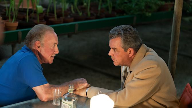 """This publicity image released by Starz, James Caan, left, and Danny Huston in a scene from the second season of the series """"Magic City,"""" set in Miami, Fla. The second season premieres Friday, June 14 at 9 p.m. on Starz. (AP Photo/Starz, Justina Mintz)"""