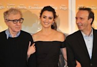 From L: US film director Woody Allen, Spanish actress Penelope Cruz and Italian actor Roberto Benigni pose during the photocall for &quot;To Rome With Love&quot; at a hotel in Rome. The film, which premieres Friday, revives the &quot;Dolce Vita&quot; movie star heyday of the Eternal City