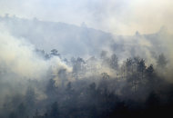 RETRANSMISSION TO CORRECT LOCATION - Smoke rises from trees as a wildfire burns out of control at Horsetooth Reservoir west of Fort Collins, Colo., on Friday, March 15, 2013. The 40-acre wildfire burning in gusty winds and warm weather was threatening homes west of Fort Collins on Friday and prompted about 50 people to leave the area. (AP Photo/Ed Andrieski)