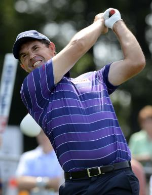 Padraig Harrington of Ireland, hits his drive on the 15th hole during the first round of The Barclays golf tournament at Bethpage State Park in Farmingdale, N.Y., Thursday, Aug. 23, 2012. (AP Photos/Henny Ray Abrams)