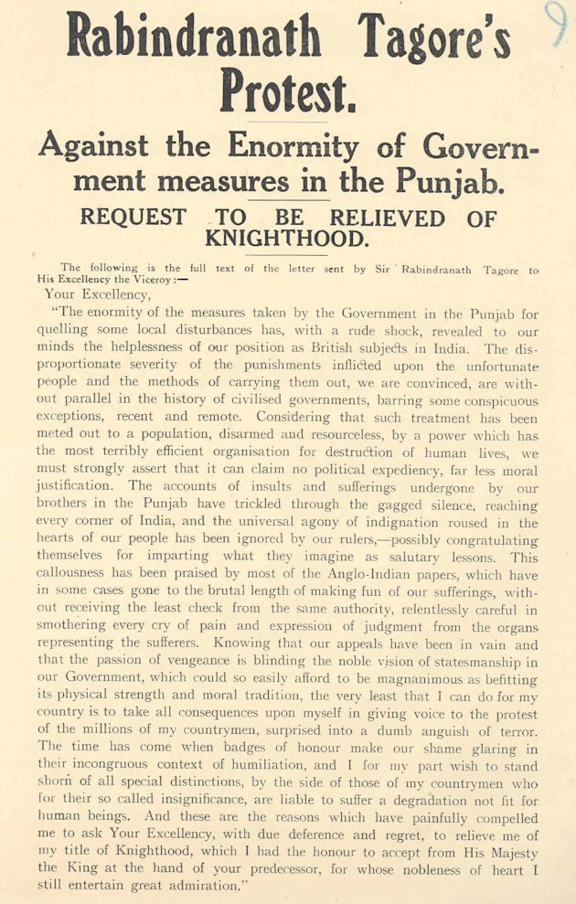 Tagore's letter circulated as a pamphlet in London in 1919