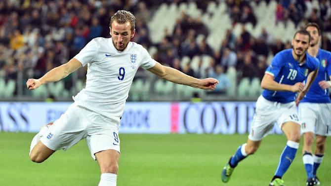 England's forward Harry Kane kicks the ball during the friendly football match Italy vs England at the Juventus Stadium in Turin on March 31, 2015