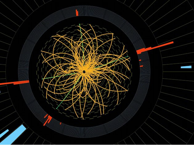 This 2011 image provide by CERN, shows a real CMS proton-proton collision in which 4 high energy electrons (green lines and red towers) are observed in a 2011 event. The event shows characteristics ex