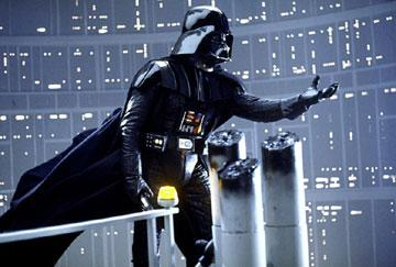 Darth Vader ( David Prowse /James Earl Jones , voice) in 20th Century Fox's The Empire Strikes Back