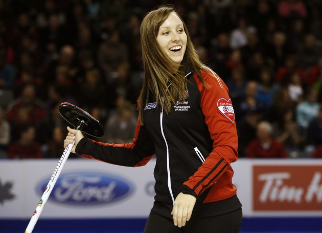 Ontario skip Homan smiles during play against Manitoba during their gold medal game at the Scotties Tournament of Hearts curling championship in Kingston