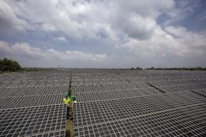 Employees of a Solar farm company take notes between…