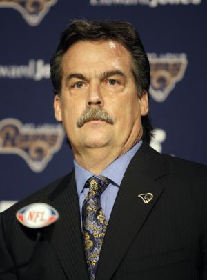 Jeff Fisher speaks during a news conference where he was officially introduced as the new head football coach of the St. Louis Rams NFL team, in St. Louis, Tuesday, Jan. 16, 2012. (AP Photo/Tom Gannam)