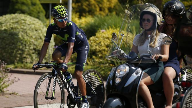 Movistar rider Nairo Quintana of Colombia cycles during a team training session in Utrecht, Netherlands