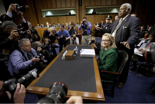 Secretary of State Hillary Rodham Clinton takes her seat on Capitol Hill, Wednesday, Jan. 23, 2013, prior to testifying before the Senate Foreign Relations Committee hearing on the deadly September at