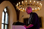 The new Archbishop of Canterbury Justin Welby addresses the media during a press conference in London, on November 9, 2012. Former oil executive Welby was named Friday as the next Archbishop of Canterbury, the spiritual head of the world's Anglicans