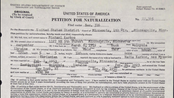 The photo taken June 3, 2013 in Chicago shows the header of Michael Karkoc's petition for naturalization obtained from the U.S. National Archives in Illinois. The petition was granted. Karkoc a top commander whose Nazi SS-led unit is blamed for burning villages filled with women and children lied to American immigration officials to get into the United States and has been living in Minnesota since shortly after World War II, according to evidence uncovered by The Associated Press. (AP Photo/M. Spencer Green)