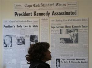 Visitors tour the John F. Kennedy Hyannis Museum in Hyannis, Massachusetts