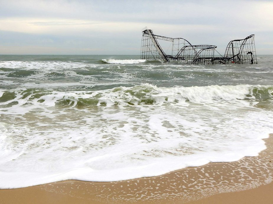 seaside heights roller coaster, nj toppled roller coaster hurricane sandy