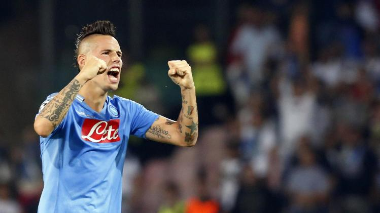 Napoli's Hamsik celebrates after defeating Borussia Dortmund in their Champions League Group F soccer match in Naples