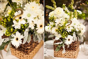 Gilded Basket Centerpiece: Technically we made this for a DIY wedding, but a similar method could totally work for a Thanksgiving centerpiece. Best of all, the basket in this fits easily into this IKEA shelves we all know and love.