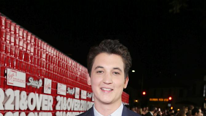 "Miles Teller arrives at the LA premiere of ""21 and Over"" at the Westwood Village Theatre on Thursday, Feb. 21, 2013 in Los Angeles. (Photo by Eric Charbonneau/Invision/AP)"