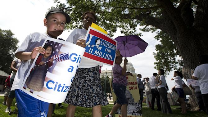 Mario Melgar, 5, who was born in Prince Georges County, Md., joins his Guatemalan mother, not in picture, during a rally for citizenship on Capitol Hill in in Washington, Wednesday, July 10, 2013, coinciding with the GOP House Caucus meeting. (AP Photo/Manuel Balce Ceneta)