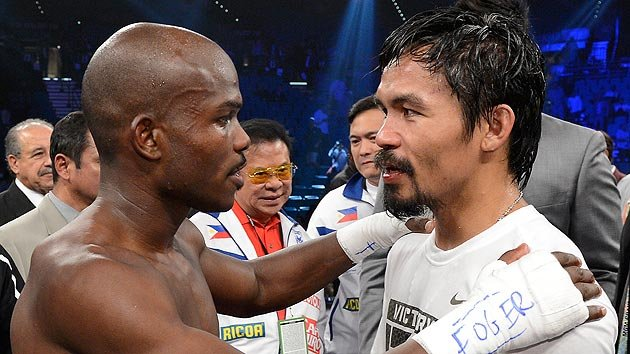 Timothy Bradley and Manny Pacquiao talk after their fight.