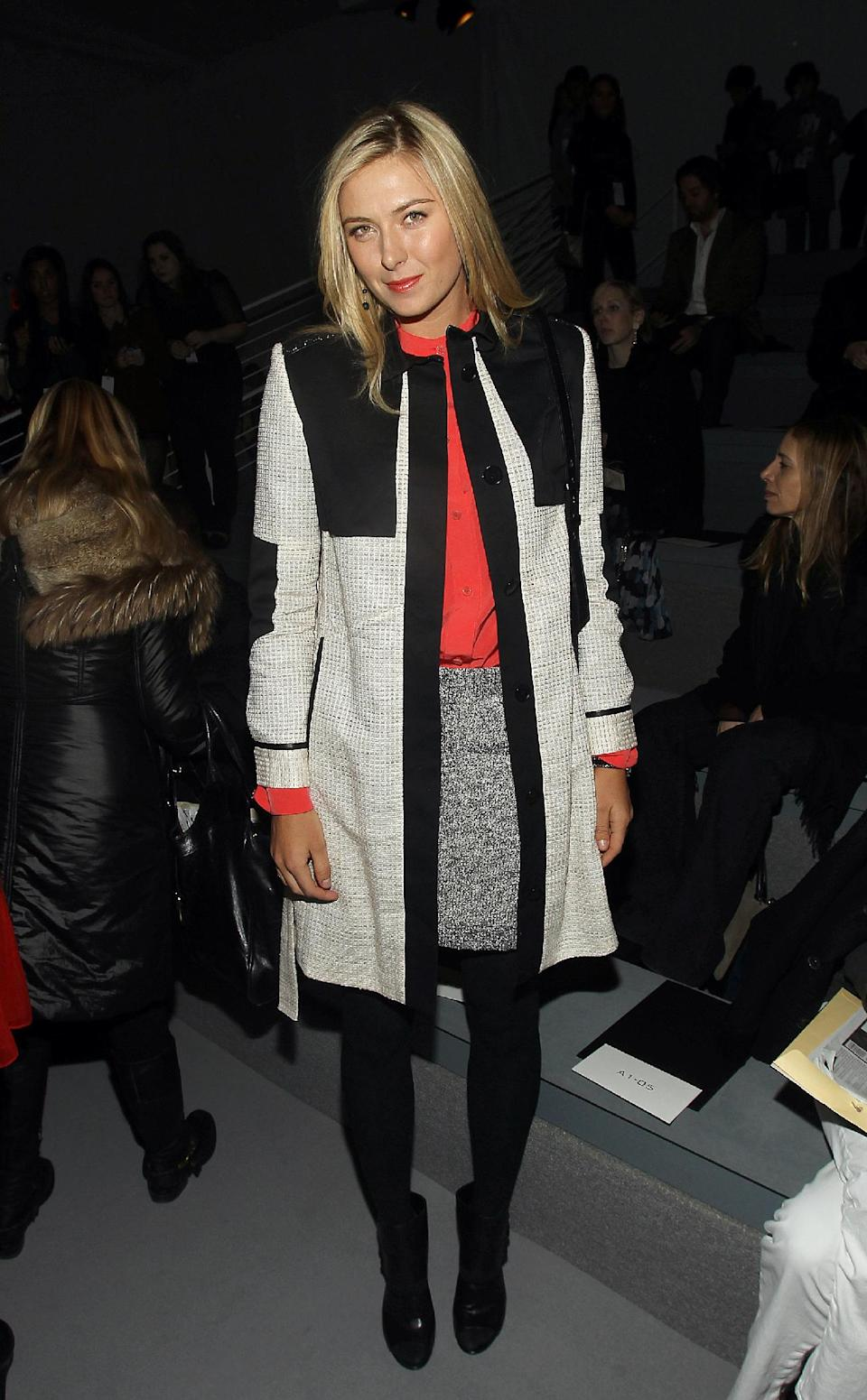 Tennis Player Maria Sharapova attends the Vera Wang Fall 2012 show during Fashion Week in New York, Tuesday, Feb. 14, 2012. (AP Photo/ Donald Traill)