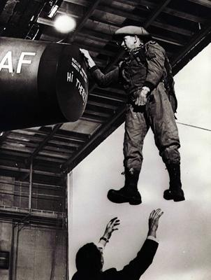 Slim Pickens on the set of Dr. Strangelove
