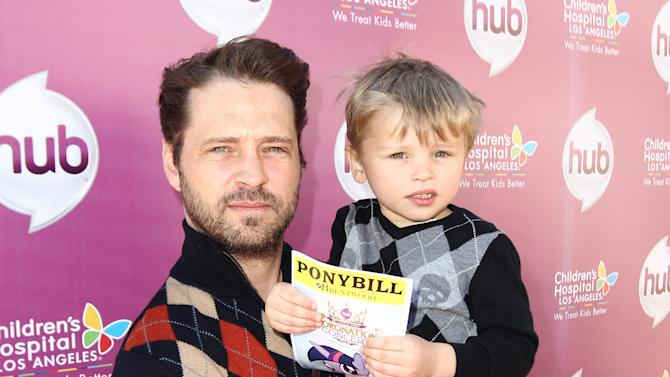 "IMAGE DISTRIBUTED FOR THE HUB - Jason Priestley and his son Dashiell Priestley attend The Hub TV Network's ""My Little Pony Friendship is Magic"" Coronation Concert at the Brentwood Theatre on Saturday, Feb. 9, 2013, in Los Angeles in support of Children's Hospital LA. (Photo by Matt Sayles/Invision for The Hub/AP Images)"