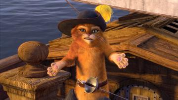 Puss-in-Boots (voiced by Antonio Banderas ) in DreamWorks Animation's Shrek the Third