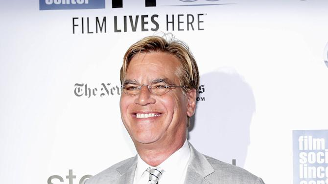 "Screenwriter Aaron Sorkin arrives before a screening of the film ""Steve Jobs"" at the New York Film Festival in New York"