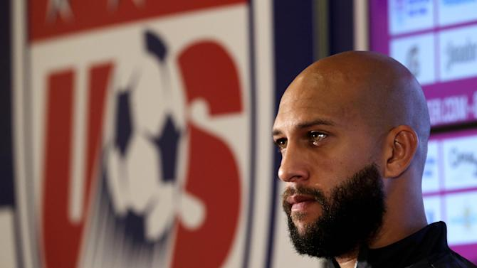 United States goalkeeper Tim Howard talks to reporters before a training session in Sao Paulo, Brazil, Saturday, June 28, 2014. The U.S. will play against Belgium on July 1, in the round 16 of the 2014 soccer World Cup. (AP Photo/Julio Cortez)