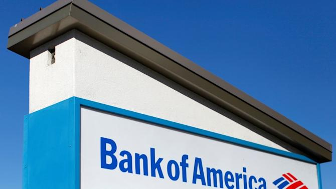 A Bank of America sign is pictured in Encinitas, California