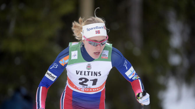Norway's Haga competes during the women's 1.4 km Sprint Classic qualifications at the FIS Ruka Nordic 2015 in Kuusamo
